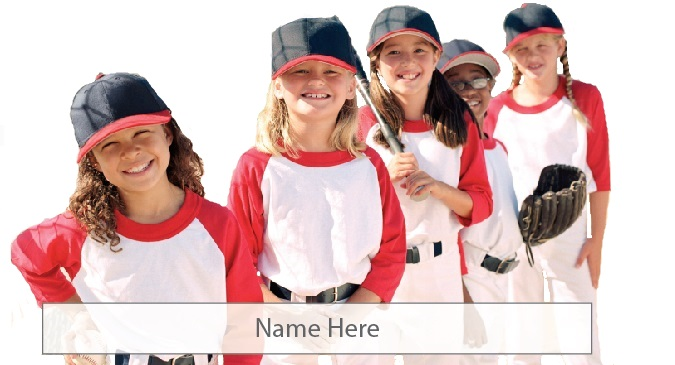 "Softball girls with ""Name Here"" field"