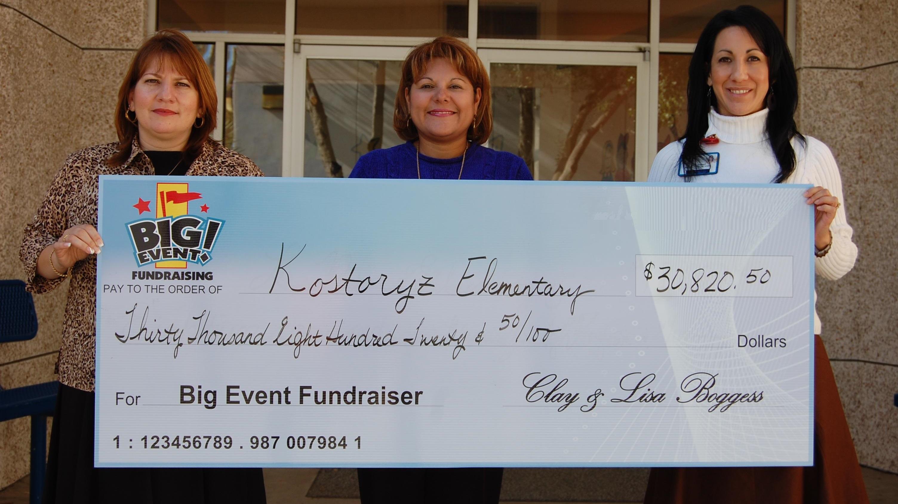 Kostoryz Elementary School fundraising team holding check