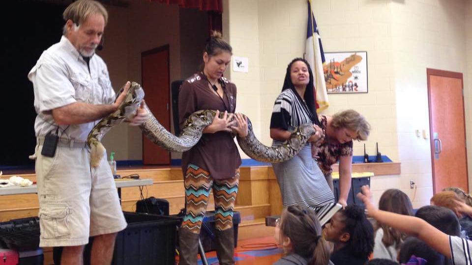Refugio Elementary School students enjoying reptile show